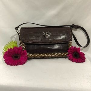 Coldwater Creek Woven Straw Faux Leather Handbag
